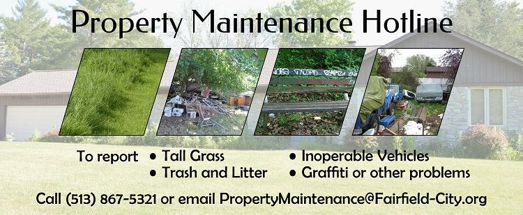 Property maintenance hotline banner image with building and construction zones