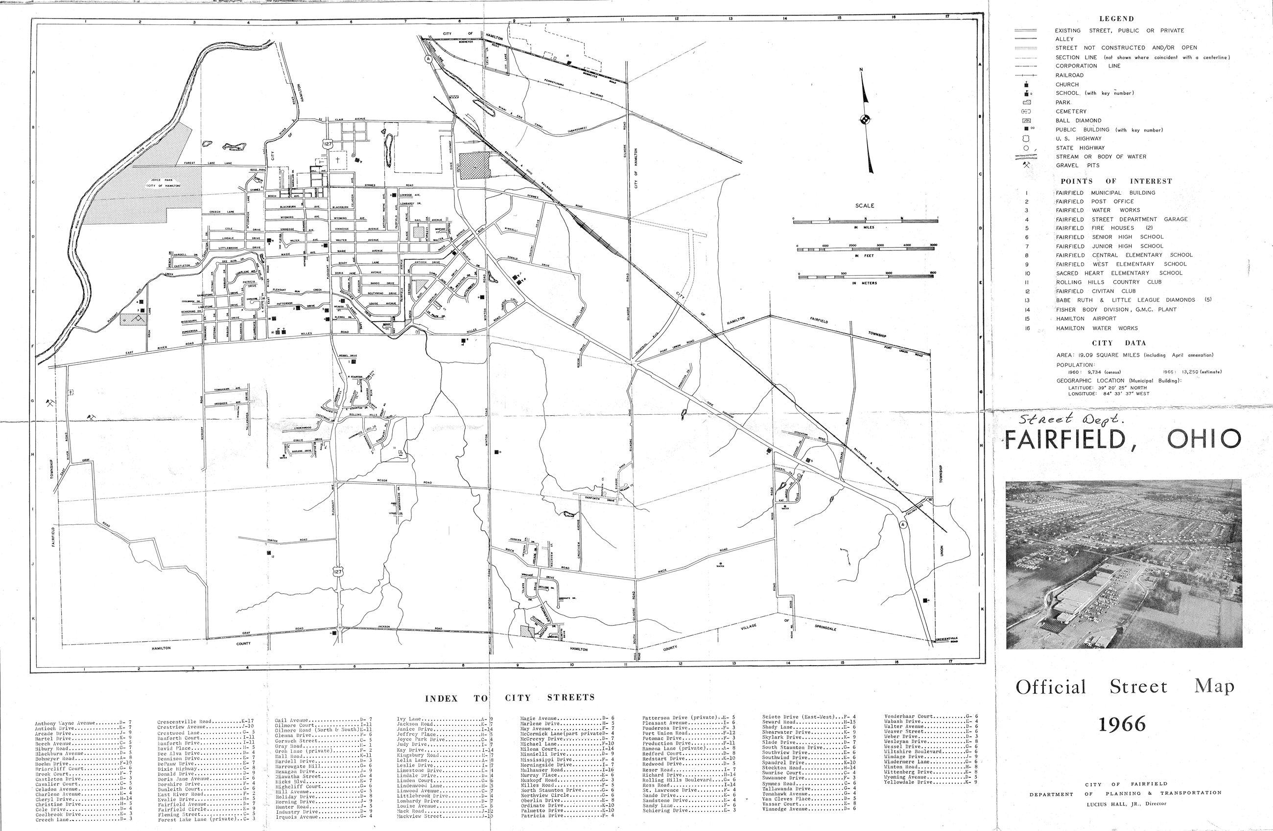 1966 City of Fairfield Street Map